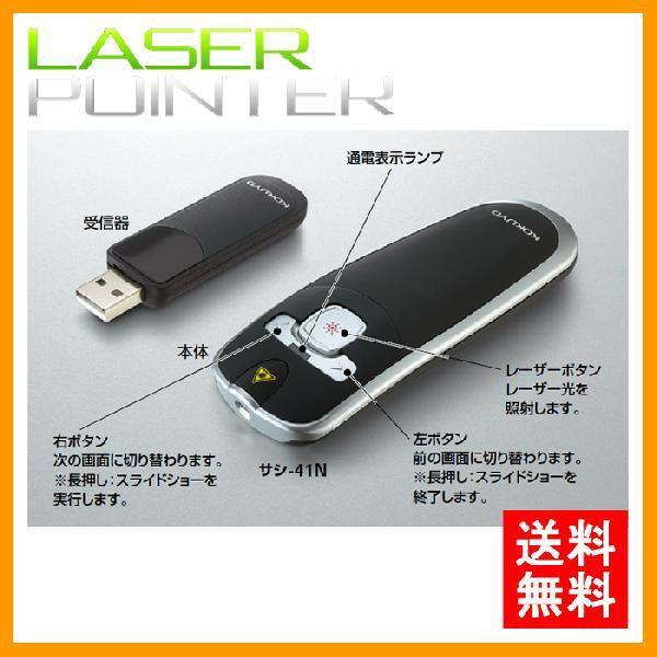【送料無料】コクヨ/レーザーポインター for PC(サシ-41N)ハンディタイプ 赤色光使用 お試し用電池・ポーチ付き パワーポイントも簡単操作!/KOKUYO
