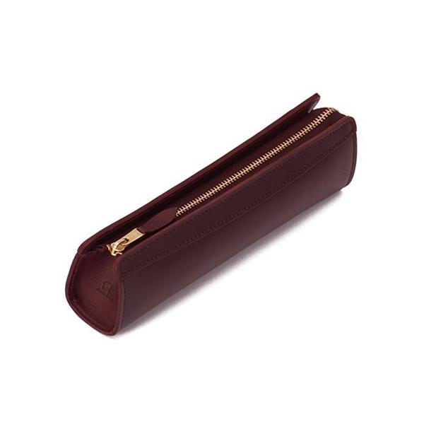 KNOX ピアス ペンケース Sサイズ ワイン 安心の日本製 革のペンケース シンプルで小さく就職祝いにも!|bungu-mori