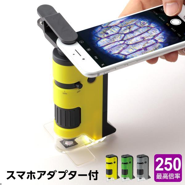  ハンディ顕微鏡DX 100〜250倍ズーム スマホ写真撮影 子供用 自由研究 オリジナル自然観察ノ…