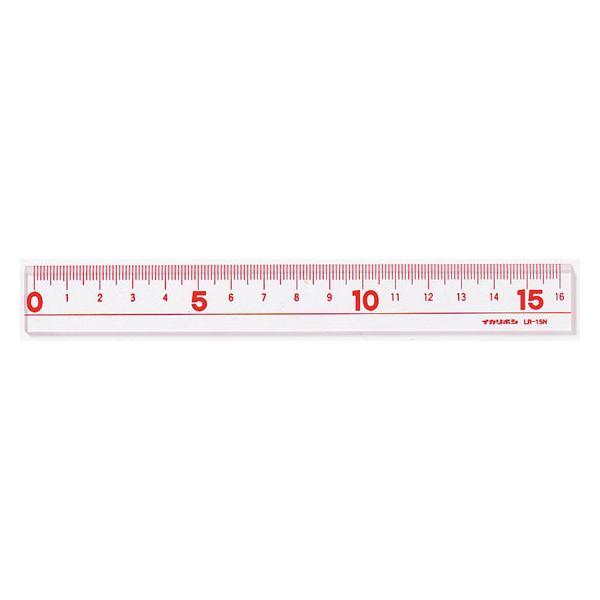 【お取り寄せ】西敬/16cmLR直線定規 赤/LR-15NBR