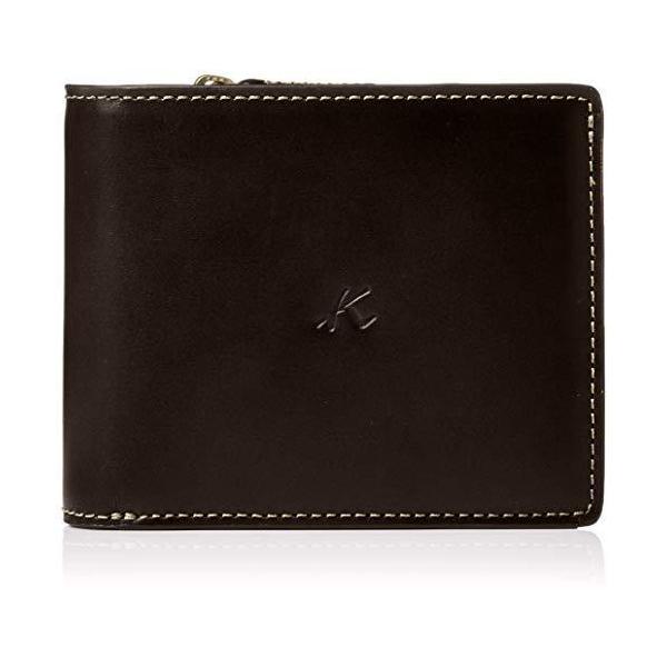 キタムラ二折財布ZH0379チョコ/ベージュステッチ茶色62501