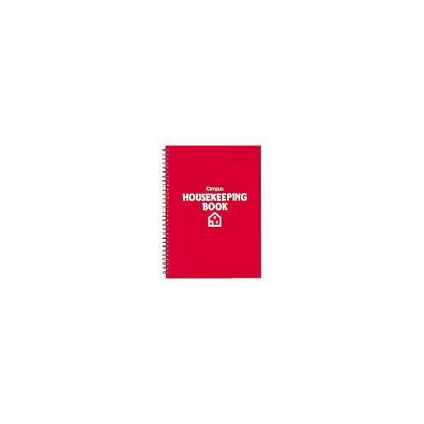 コクヨ スイ-T210R 家計簿 ツインリングとじ B5 64枚クリヤーポケット2枚付赤 (5冊セット)