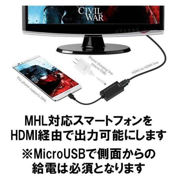 MHL HDMI 変換アダプター MicroUSB HDMI 変換 アダプター ケーブル DM-白小プ|burariya|02