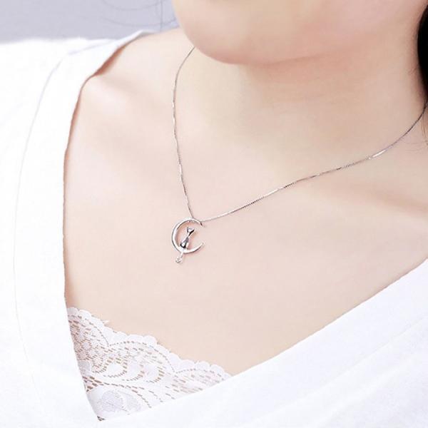 猫 月 ネックレス 可愛い 月夜の猫をモチーフにしたネックレス 定形内