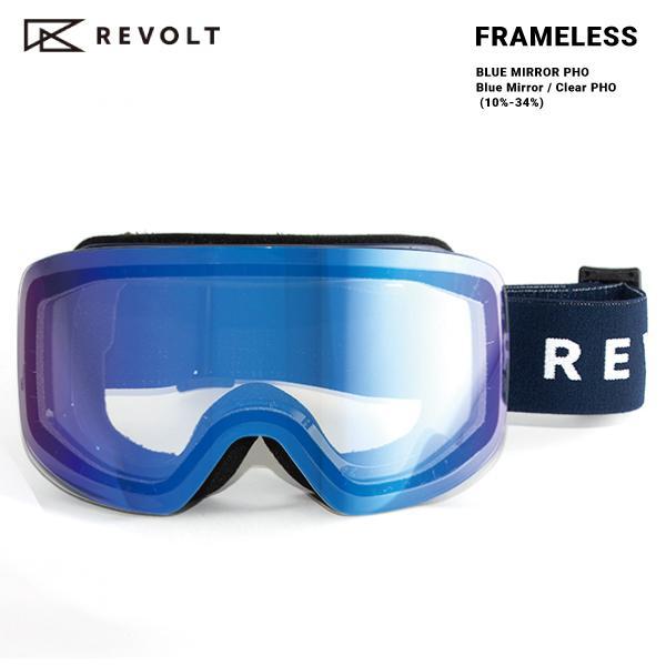 21-22 REVOLT FRAMELESS BLUE MIRROR PHO リボルト フレームレス スノーボード ゴーグル