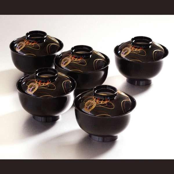 お椀 彩光てまり雑煮椀揃 黒 5個セット KT2140 北市漆器店