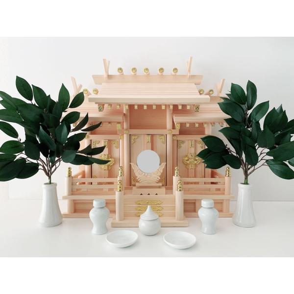 神棚 神具セット 神棚セット 神殿 屋根違い三社 小 スライド