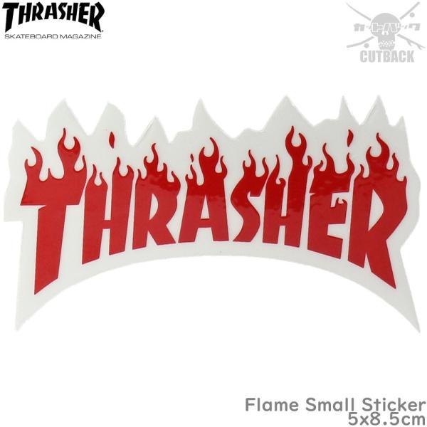 Thrasher スラッシャー ステッカー Flame Small Sticker レッド スケートボード フレーム スケボー シール ブランド スーツケース オシャレ