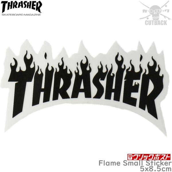 Thrasher スラッシャー ステッカー Flame Small Sticker ブラック スケートボード フレーム スケボー シール ブランド スーツケース オシャレ