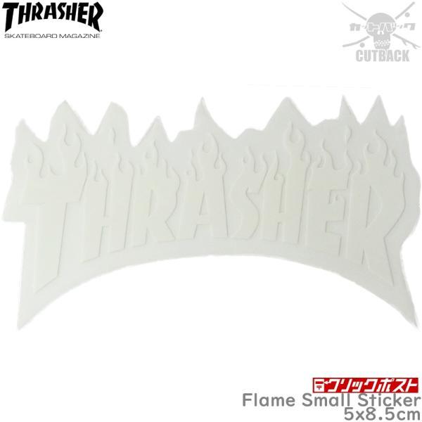 Thrasher スラッシャー ステッカー Flame Small Sticker ホワイト スケートボード フレーム スケボー シール ブランド スーツケース オシャレ