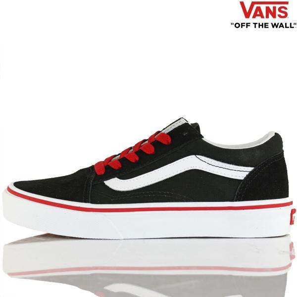 Vans バンズ キッズ スケボー シューズ 靴 Old Skool Pop Black/Racing Red スケートボード オールドスクール 子供 butterflygarage