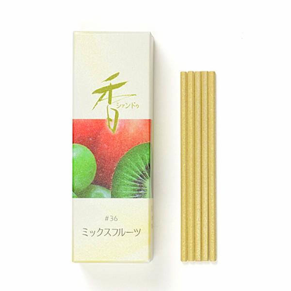 【お香・松栄堂】Xiang Do ミックスフルーツ 20本入 スティック70mm、簡易香立付