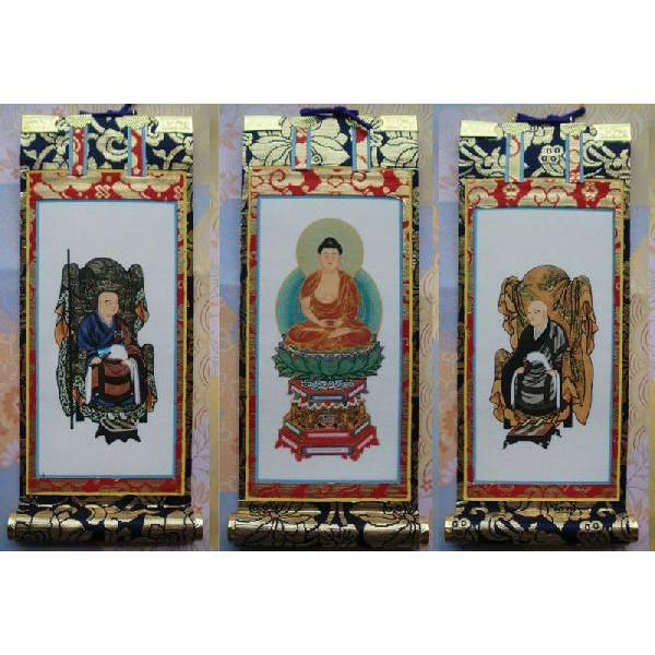 京都西陣・上仕立て絹本紙・曹洞宗掛軸・3枚セット・30代