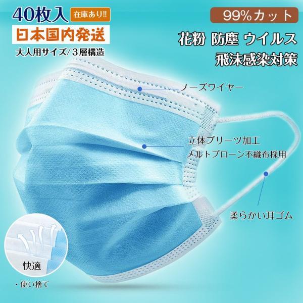 マスク 在庫あり 送料無料 即納 40枚 使い捨て 3層型マスク 不織布 男女兼用 ウィルス対策 ますく ウイルス 防塵 花粉 飛沫感染対策 インフルエンザ 風邪