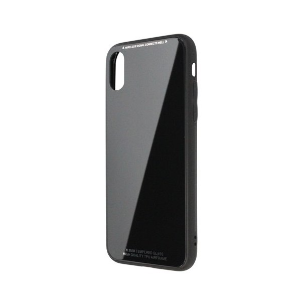 日本トラストテクノロジー TPUGCX-BK ワイヤレス充電対応 TPUガラスケース ブラック 〔iPhone XS/X用〕の画像