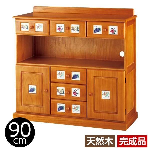 サイドボード/リビングボード (南欧風家具) 〔4: 幅90cm〕 木製 ライトブラウン 〔完成品〕