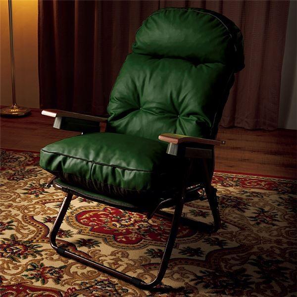 イタリア製リラックスチェア(折りたたみパーソナルチェア) 合成皮革(合皮) リクライニング式 フットレスト/肘付き グリーン(緑)|buzzhobby2|02