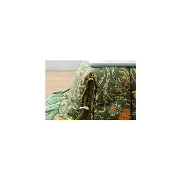 〔訳あり・在庫処分〕国内プリント 省スペースこたつ薄掛け布団単品 『パミールNSK増量省S』 グリーン 190×190cm