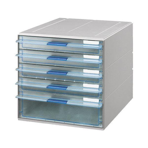 コクヨ レターケース(UNIFEEL)透明引出しタイプ A4タテ 浅型4段・深型1段 ライトグレー LC-UNT605M 1台