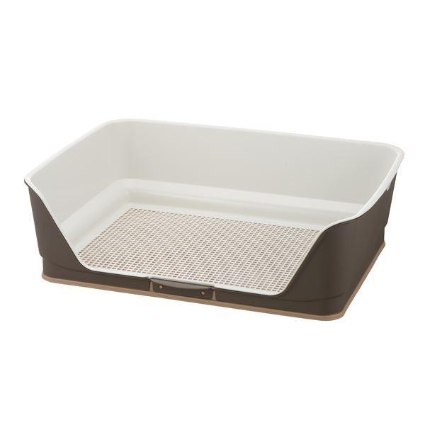 (まとめ)お掃除簡単ステップ壁付トイレ ワイド ダークブラウン (ペット用品) (×2セット)