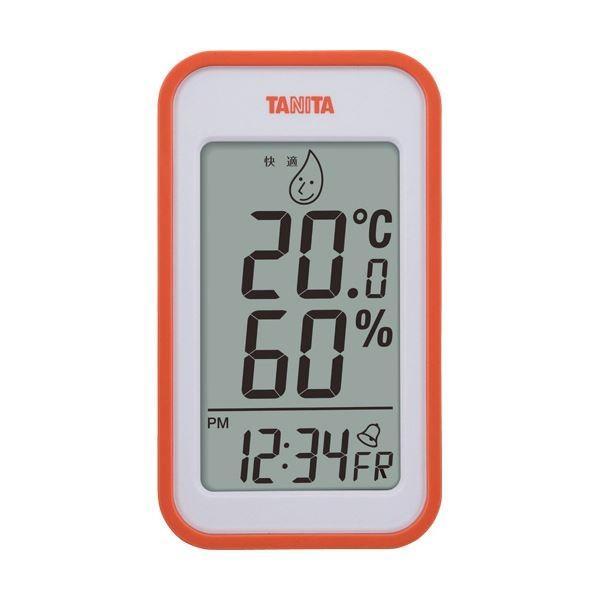 (まとめ)タニタ デジタル温湿度計 オレンジTT559OR 1個〔×2セット〕
