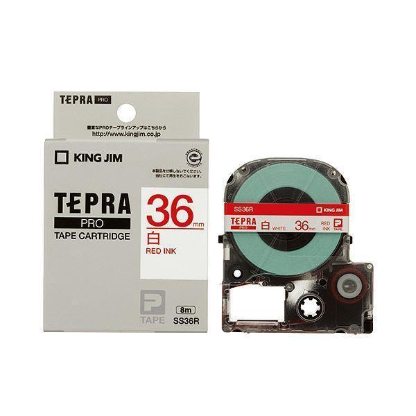 (まとめ) キングジム テプラ PRO テープカートリッジ 36mm 白/赤文字 SS36R 1個 〔×2セット〕
