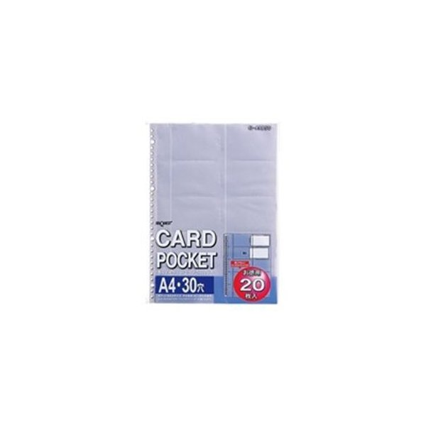 (業務用100セット) LIHITLAB クリヤーポケット クリアポケット 名刺用 G49050 A4 30穴