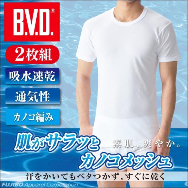 Tシャツ 丸首半袖 2枚組 B.V.D. カノコメッシュ 吸水速乾 クールビズ/涼感/メンズインナー/ビジネス|bvd