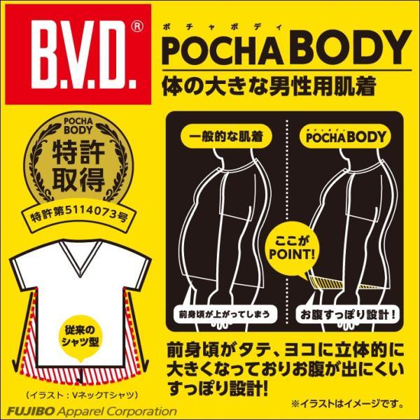BVD大きいサイズVネック半袖Tシャツ3L4L5L6LB.V.D.POCHABODYキングサイズメンズ下着