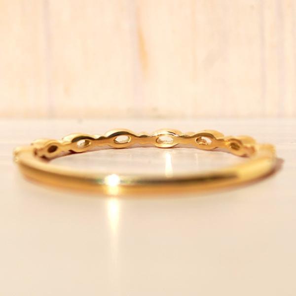 指輪 リング レディース K18 18k  K18 シンプル おしゃれ 重ねづけ 華奢 本物 透かし 人気 デザイン クラシカル ベーシックリング ブルジョン 送料無料