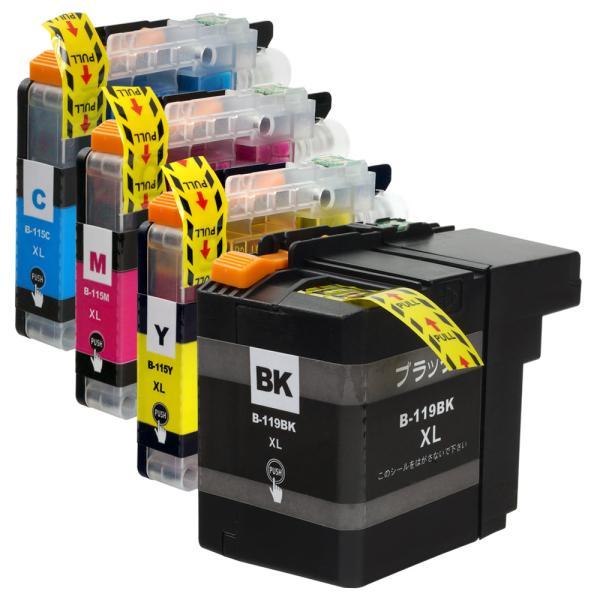 ブラザー LC119/115-4PK (BK/C/M/Y) 4色セット brother 互換インクカートリッジ 残量表示 ICチップ付 LC119 LC115 印刷