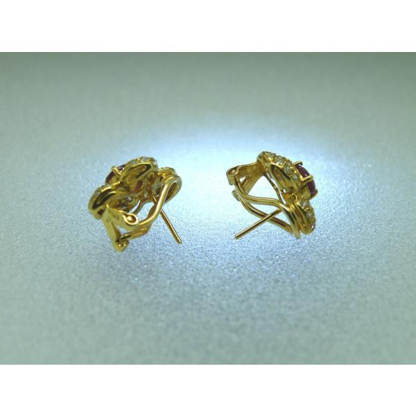 ピアス K18イエローゴールド ダイヤモンド ルビー フラワーピアス D1.49ct R1.71ct