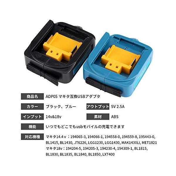 マキタ 互換USB アダプタ USBアダプタ マキタ バッテリー互換 Li-ionバッテリー用 2ポート 急速充電 ADP05 14-18V スマホ|cacaoshop|03