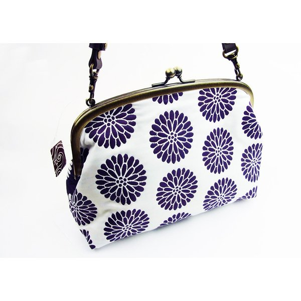 がま口バック ふくれ織りジャガードショルダー 菊紫キクムラサキ