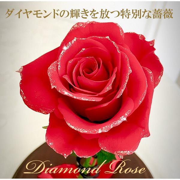 プリザーブドフラワー 1輪のバラ 美女と野獣 1本バラ 天然ダイヤ付き ブリザードフラワー プロポーズ 記念日|cafura|02
