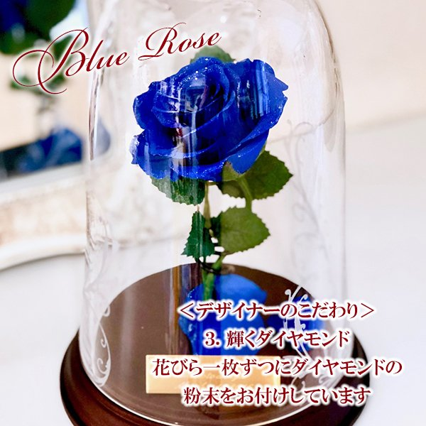 プリザーブドフラワー 1輪のバラ 美女と野獣 1本バラ 天然ダイヤ付き ブリザードフラワー プロポーズ 記念日|cafura|05