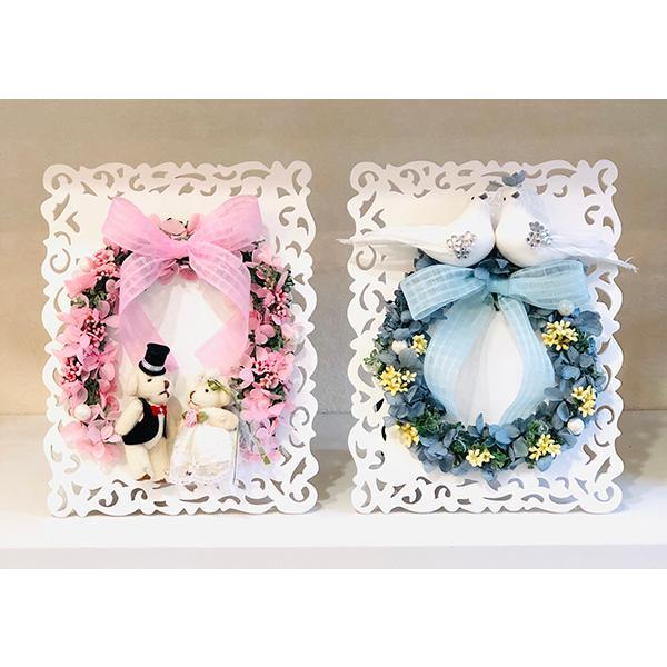 電報 結婚式 おしゃれ プリザーブドフラワー 祝電  お祝い ウェディングベア  ぬいぐるみ 幸せを呼ぶ小鳥 |cafura|02