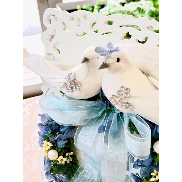 電報 結婚式 おしゃれ プリザーブドフラワー 祝電  お祝い ウェディングベア  ぬいぐるみ 幸せを呼ぶ小鳥 |cafura|04