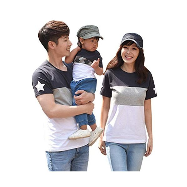 Veroman 親子コーデ メンズ Tシャツ リンクコーデ (XL 星柄)|calin1|05