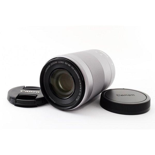 キヤノン CANON EF-M 55-200mm F4.5-6.3 IS STM シルバー 極上美品 キャノン EF-Mマウント 望遠 ズーム 交換レンズ