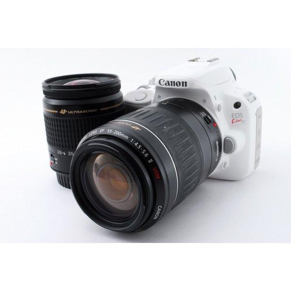 キヤノン Canon EOS Kiss X7 ダブルズームセット ホワイト 極上美品 8GB 新品SDカード、ストラップ付き