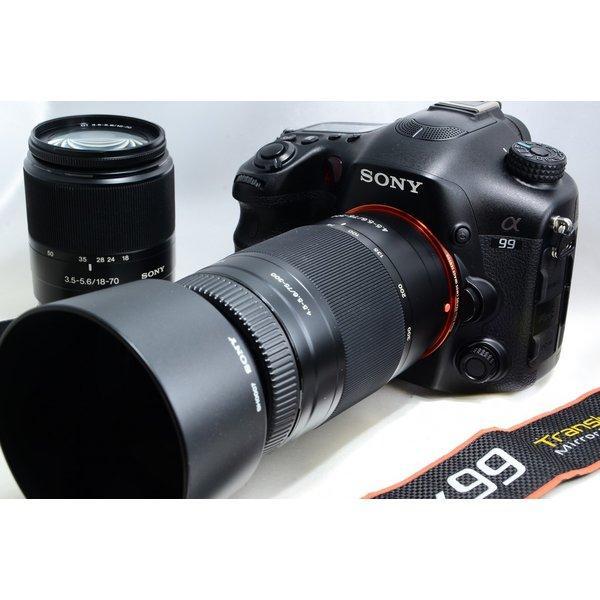 ソニー SONY α99 アルファ SLT-A99V 標準&望遠ダブルズームセット 極上美品 高速連写に定評アリ 新品SDカード、ストラップ付き