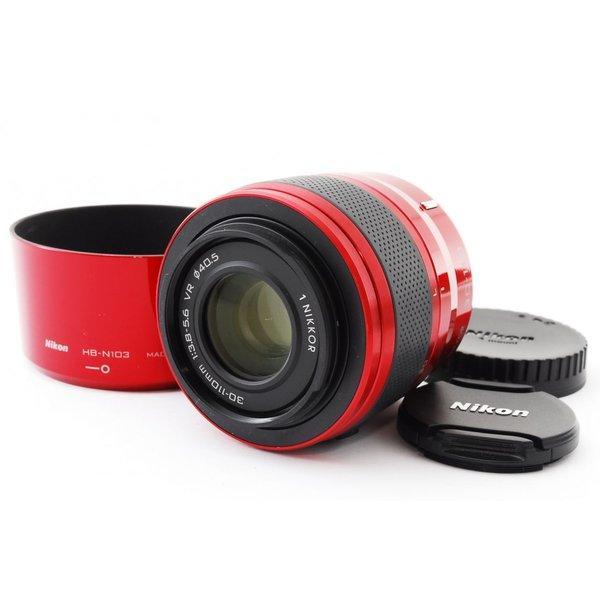 ニコン NIKON 1 NIKKOR 30-110mm f/3.8-5.6 VR レッド 赤 美品 レンズフード付き Nikon 1 マウント 望遠ズームレンズ 交換レンズ