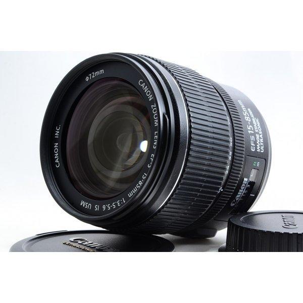 キヤノン Canon EF-S 15-85mm f/3.5-5.6 IS USM 極上美品 EFマウント 望遠 ズームレンズ 交換レンズ 前後キャップ付き