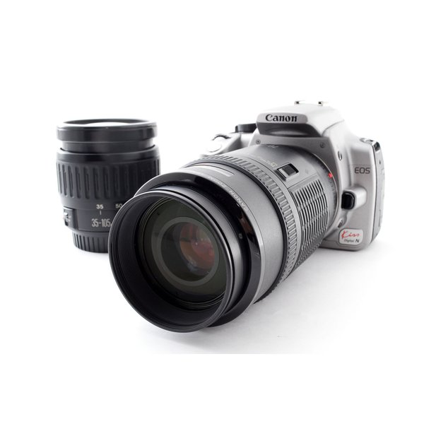 キヤノン Canon EOS Kiss Digital N デジタルN ダブルズームレンズセット シルバー 美品 デジタル一眼始めるならこれ ストラップ付き