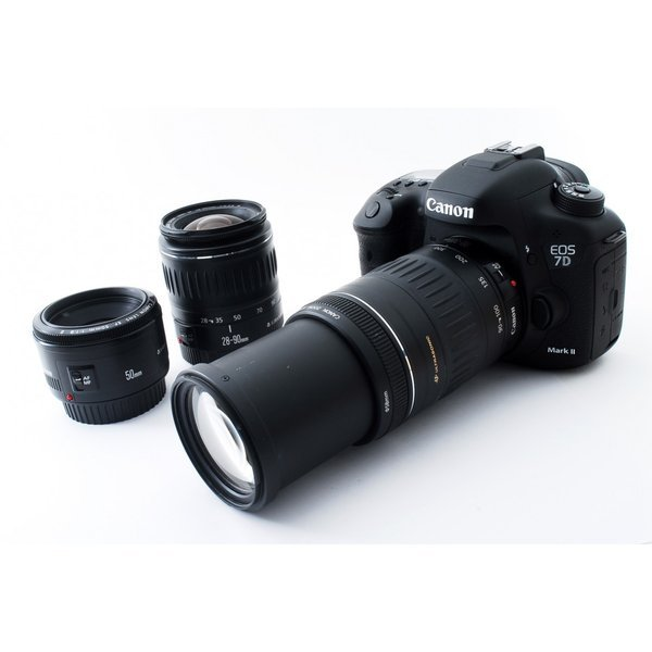 キヤノン Canon EOS 7D Mark II 単焦点&標準&超望遠トリプルレンズセット 美品 10コマ/秒連写性能 新品SDカード8GB付き
