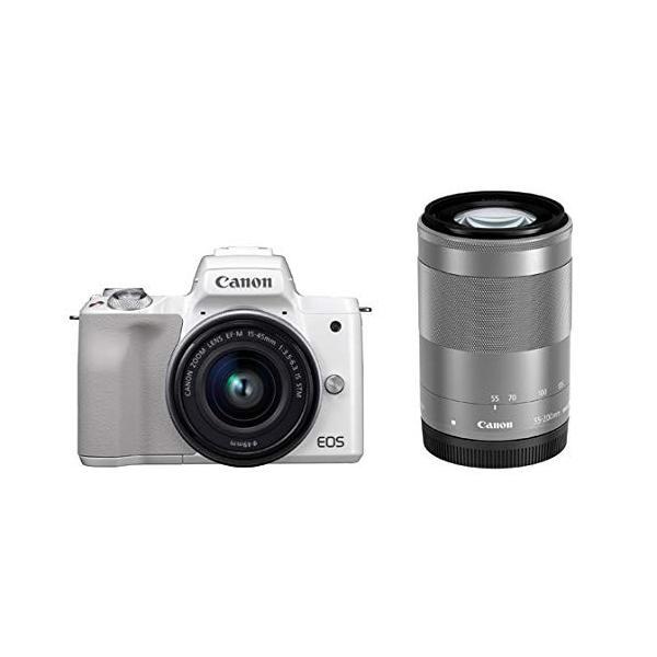 ミラーレス一眼 中古 Canon キャノン EOS Kiss M ホワイト ダブルズームキット cameracantik