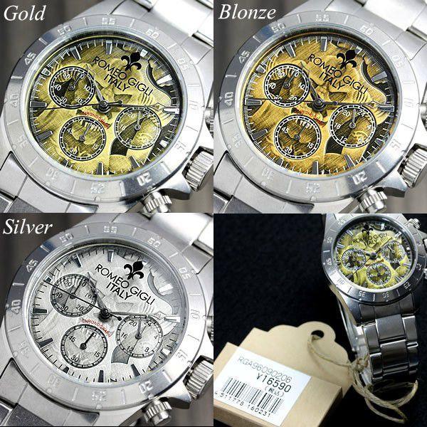 ROMEO GIGLI ロメオジリ 腕時計 メンズ クロノグラフ アンティーク ステンレス|cameron|06