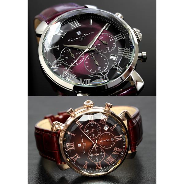 エントリーでP5倍 サルバトーレマーラ 腕時計 メンズ クロノグラフ 革ベルト カットガラス アイスクロコレザー 流通限定モデル|cameron|04