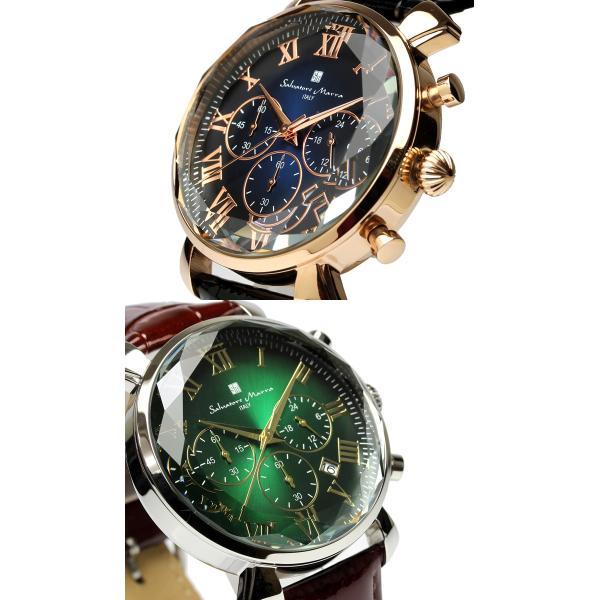 エントリーでP5倍 サルバトーレマーラ 腕時計 メンズ クロノグラフ 革ベルト カットガラス アイスクロコレザー 流通限定モデル|cameron|05